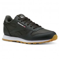 Reebok Classic Leather Shoes Kids Gum-Dark Cypress/White (880KBYEM)