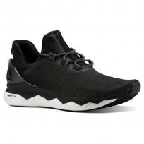 Reebok Floatride Run Smooth Running Shoes Mens Strtch-Black/White/Tin Grey (884JDTIV)