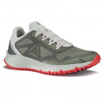 Reebok All Terrain Running Shoes Mens Green/Cloud Grey/Iron Stone/Dayglow Red/Metallic Grey (885GLORA)