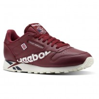 Reebok Classic Leather Shoes Mens Ativ-Urban Maroon/White/Collegiate Navy/Chalk (902ZTEVA)