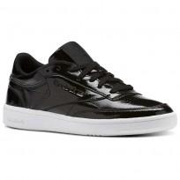 Reebok Club C 85 Shoes Womens Black/White (909DUGML)