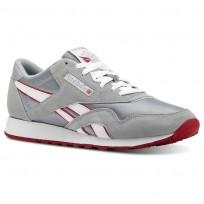 Reebok Classic Nylon Shoes For Men Grey/White/Red (915DVIRJ)