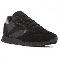 Reebok Classic Leather Shoes Womens Emb-Black/Rose Gold (918WYVHQ)
