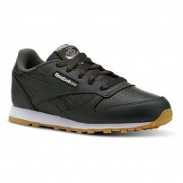 Reebok Classic Leather Shoes Kids Gum-Dark Cypress/White (921EZDAR)