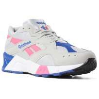 Reebok Aztrek Shoes Mens We-Skull Grey/Acid Pink/Coll Royal/White/Blk (924XIEPM)
