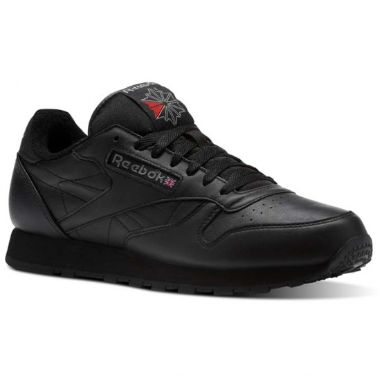 Reebok Classic Leather Shoes Mens Black/Carbon/Red (940PFKVU)