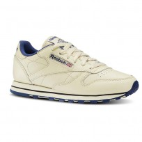 Reebok Classic Leather Shoes Womens Ecru/Navy (946HTUPZ)