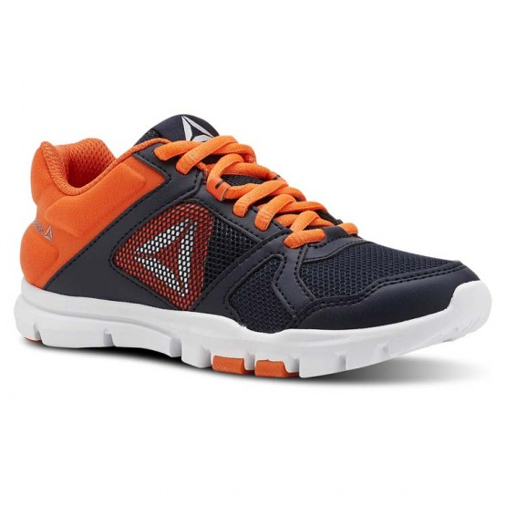 Reebok YourFlex Train 10 Training Shoes Boys Collegiate Navy/Bright Lava/White/Silver Met (948EPOZL)
