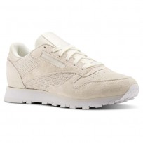Reebok Classic Leather Shoes Womens Beige/Chalk/White (958VRYGB)