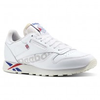 Reebok Classic Leather Shoes Mens Ativ-Wht/Darkroyal/Excellentred/Snowgry/Chalk (972FAERJ)