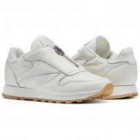 Reebok Classic Leather Shoes Womens Chalk/Sandstone/Metallic Silver (986WEYPH)