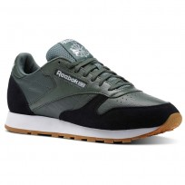 Reebok Classic Leather Shoes Mens Chalk Green/Black/White-Gum (998DFHLY)